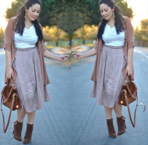 plus size midi skirt with boots