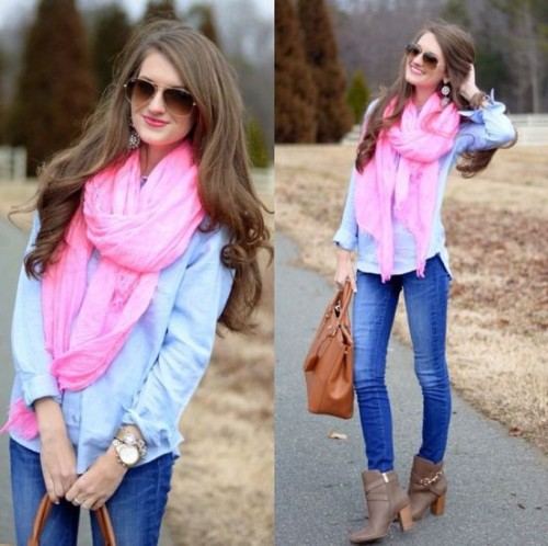 pop pink color scarf outfit