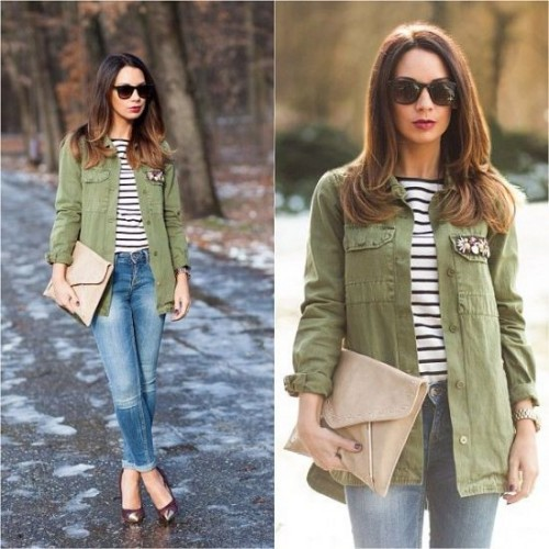 strped tee with green jacket