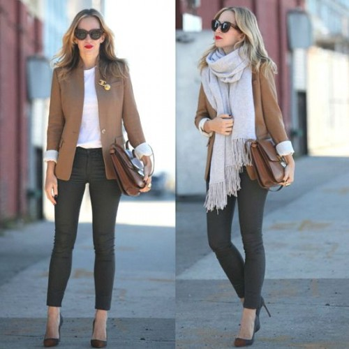 tan blazer with gray scarf
