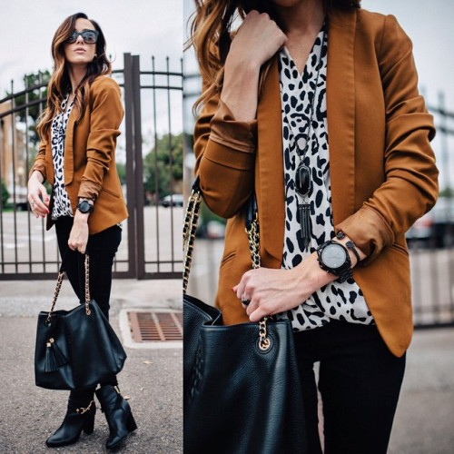tan jacket with leopard blouse