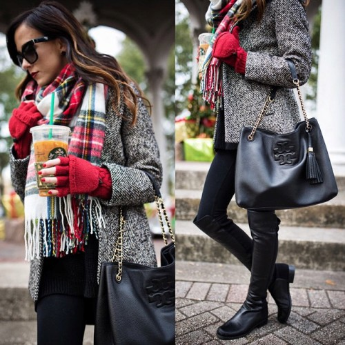 tartan scarf with red sweater