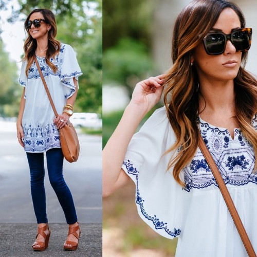 white blouse with denim