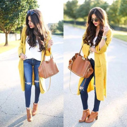 yellow knit cardigan outfit