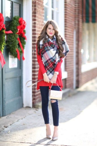blanket scarf red outfit