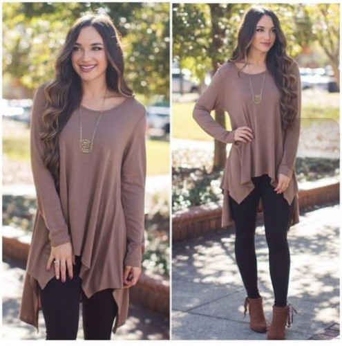 brown tunic outfit