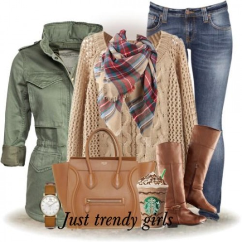 camel sweater with green military jacket,