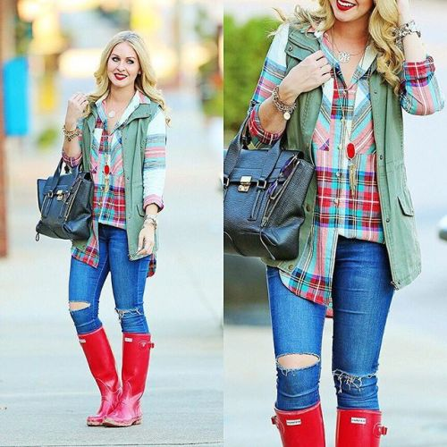 colorful plaid shirt with vest