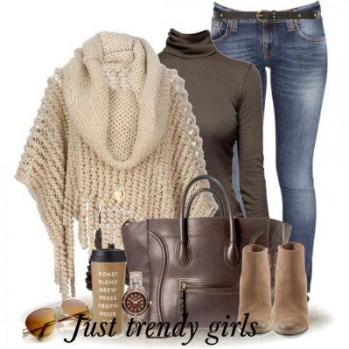 cowl beige poncho outfit,