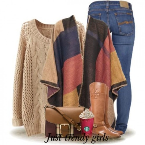 earthy colors poncho with camel sweater,
