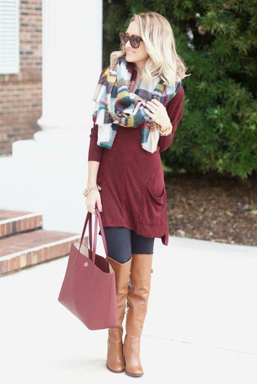 fall maroon sweater outfit