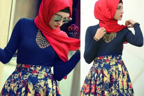 floral pleated skirt hijab look