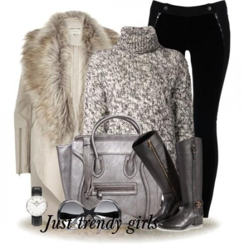 fur cowl cardigan outfit,