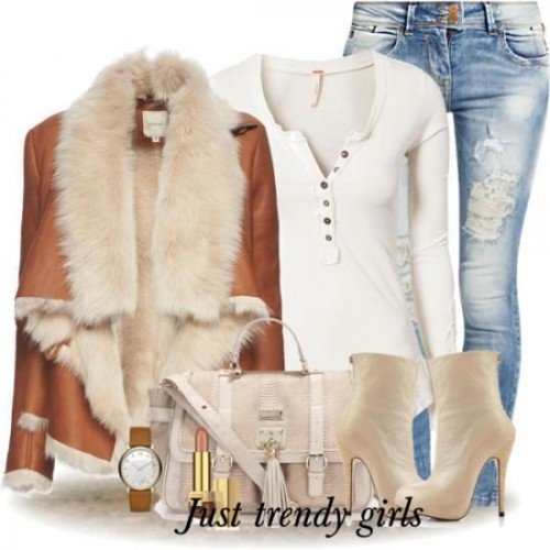 fur leather jacket with jeans