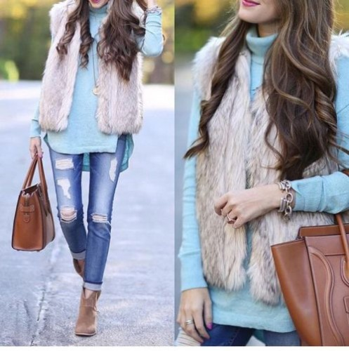 fur vest with sweater