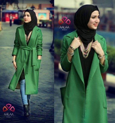 green trench coat hijab style