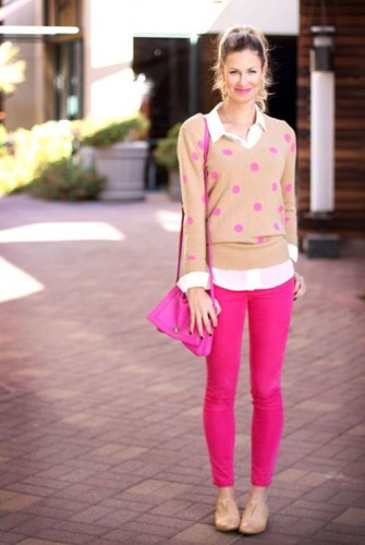 hot pink jeans with sweater