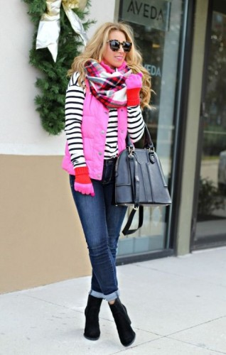 hot pink puffer vest with stripes