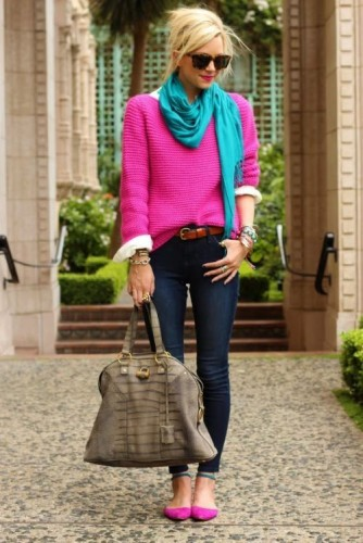 hot pink sweater outfit