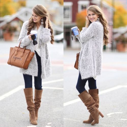 knit long cardigan outfit