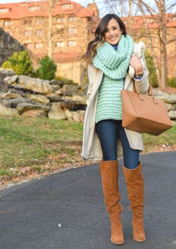 mint cowl sweater outfit