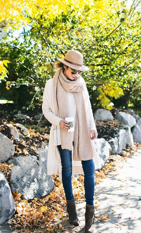 neutral knit scarf outfit