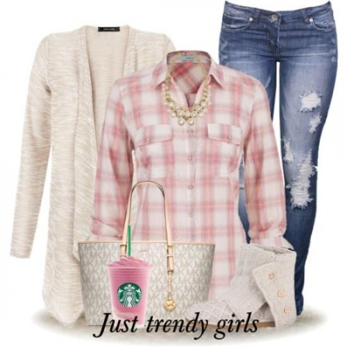 pink plaid shirt with cardigan,