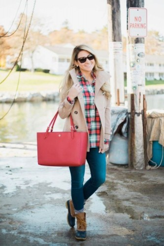 plaid flannel with beige jacket