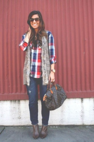 plaid flannel with fur vest