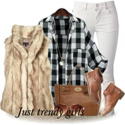 plaid flannel with fur vest and jeans