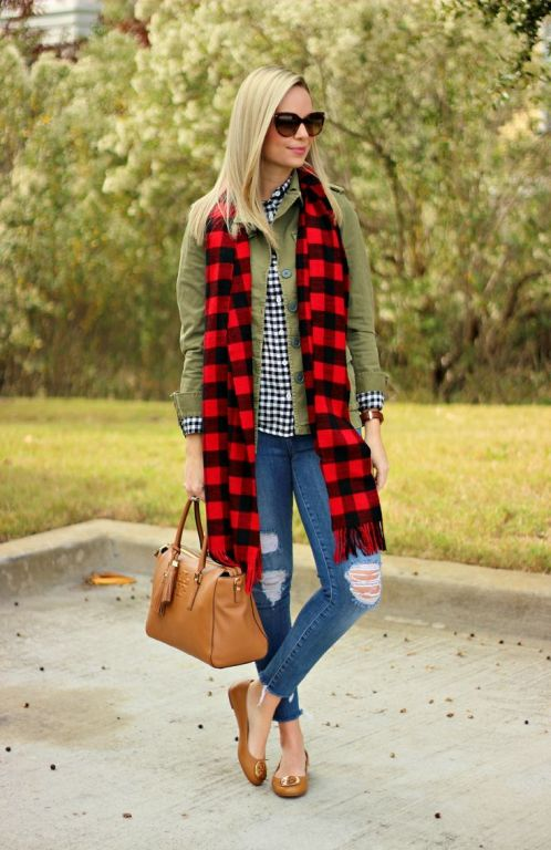 plaid long scarf outfit