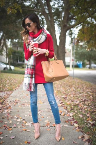 plaid scarf with red coat