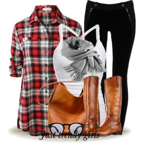 plaid shirt with cognac boots and bag