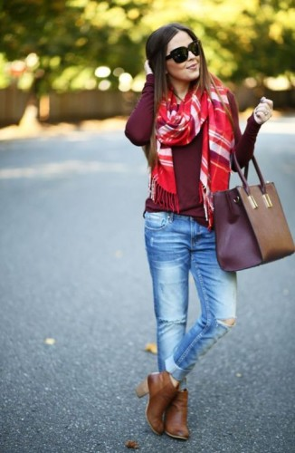 pop color scarf outfit