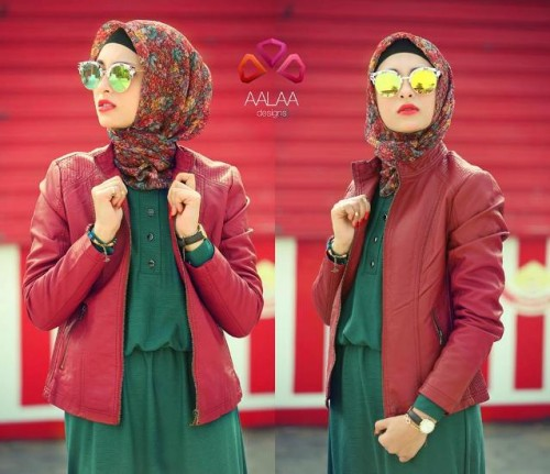 red leather jacket hijab look