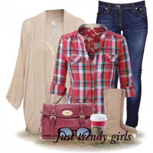 red plaid shirt with cardigan