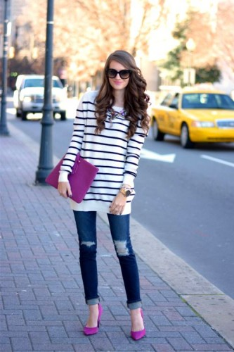 striped sweater with pink shoes