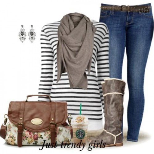 striped sweater with scarf and jeans
