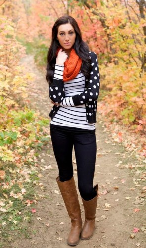 striped tee with polka dots cardigan