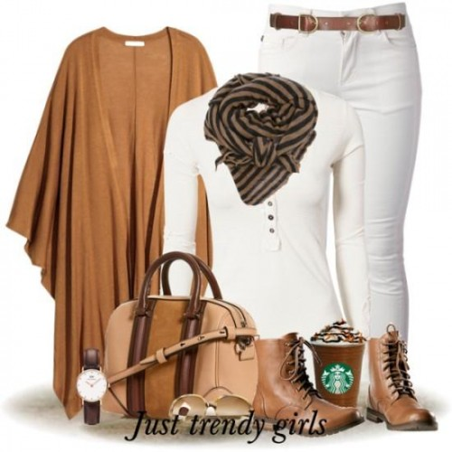 tan cardigan with white outfit