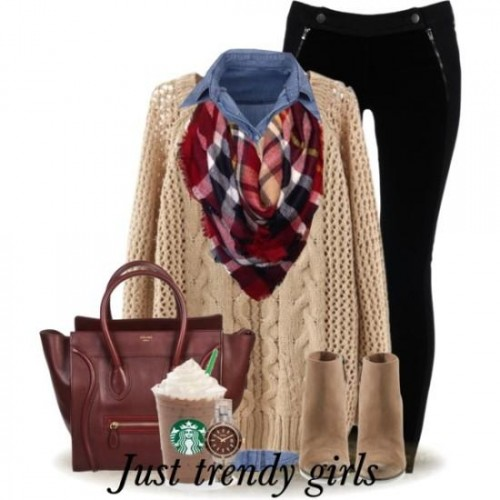 tan knit sweater with tartan scarf,