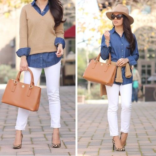 tan sweater with denim shirt