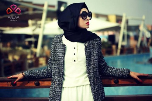 tweed blazer hijab look