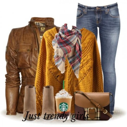 warm colors sweater outfit,