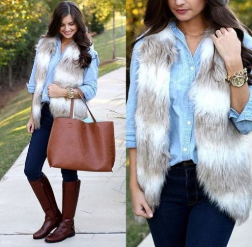 white fur vest with denim shirt