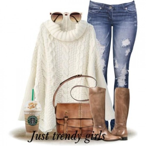 white knit sweater with cowel