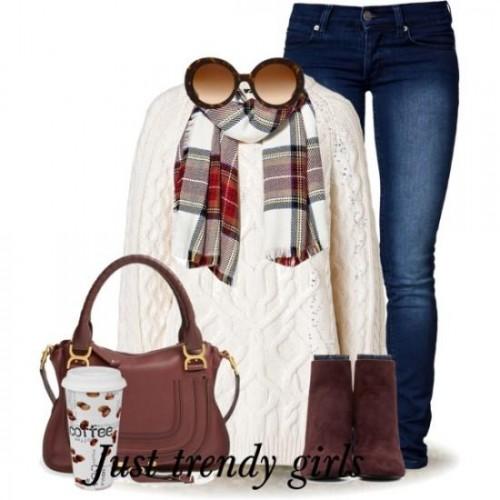 white knit sweater with plaid scarf,