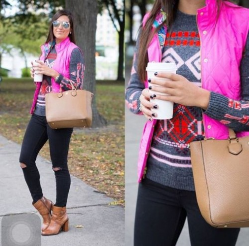 winter sweater with puffy vest