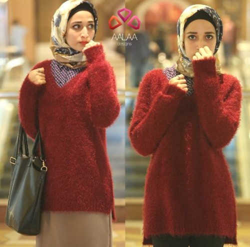 wool maroon sweater hijab look