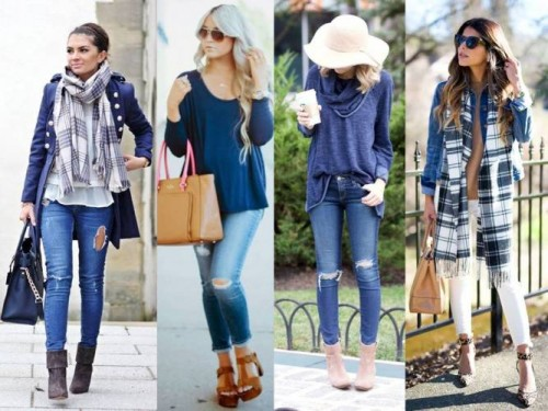 blue casual street looks